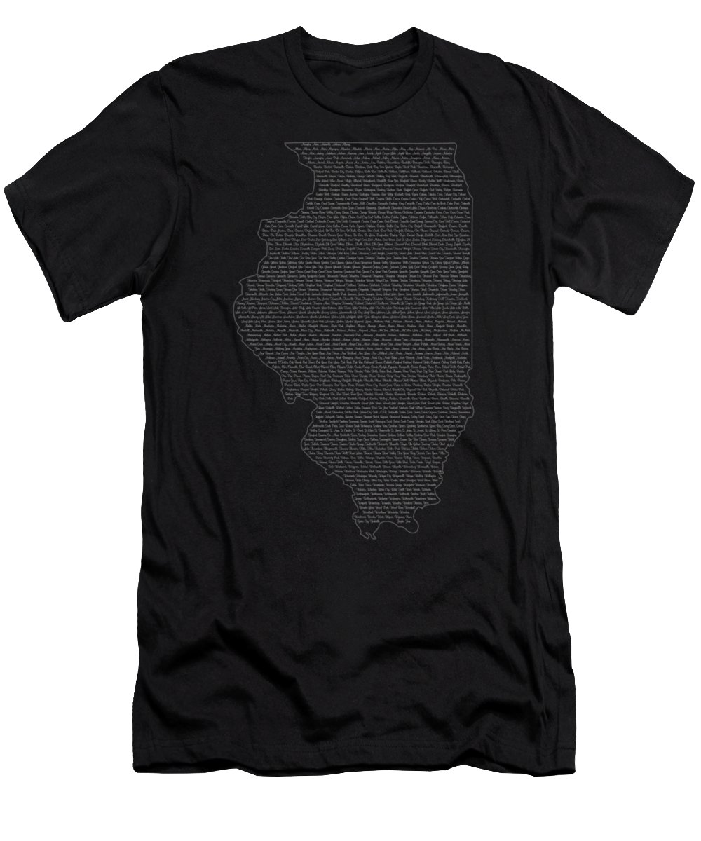 Illinois Men's T-Shirt (Athletic Fit) featuring the digital art Cities And Towns In Illinois White by Custom Home Fashions