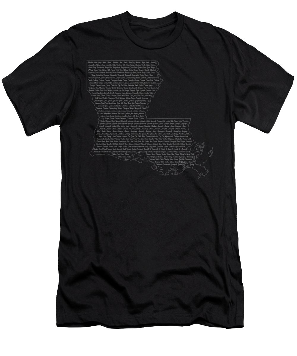 Louisiana Men's T-Shirt (Athletic Fit) featuring the digital art Cities And Towns In Louisiana White by Custom Home Fashions