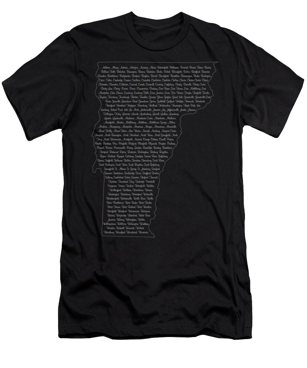 Vermont Men's T-Shirt (Athletic Fit) featuring the digital art Cities And Towns In Vermont White by Custom Home Fashions