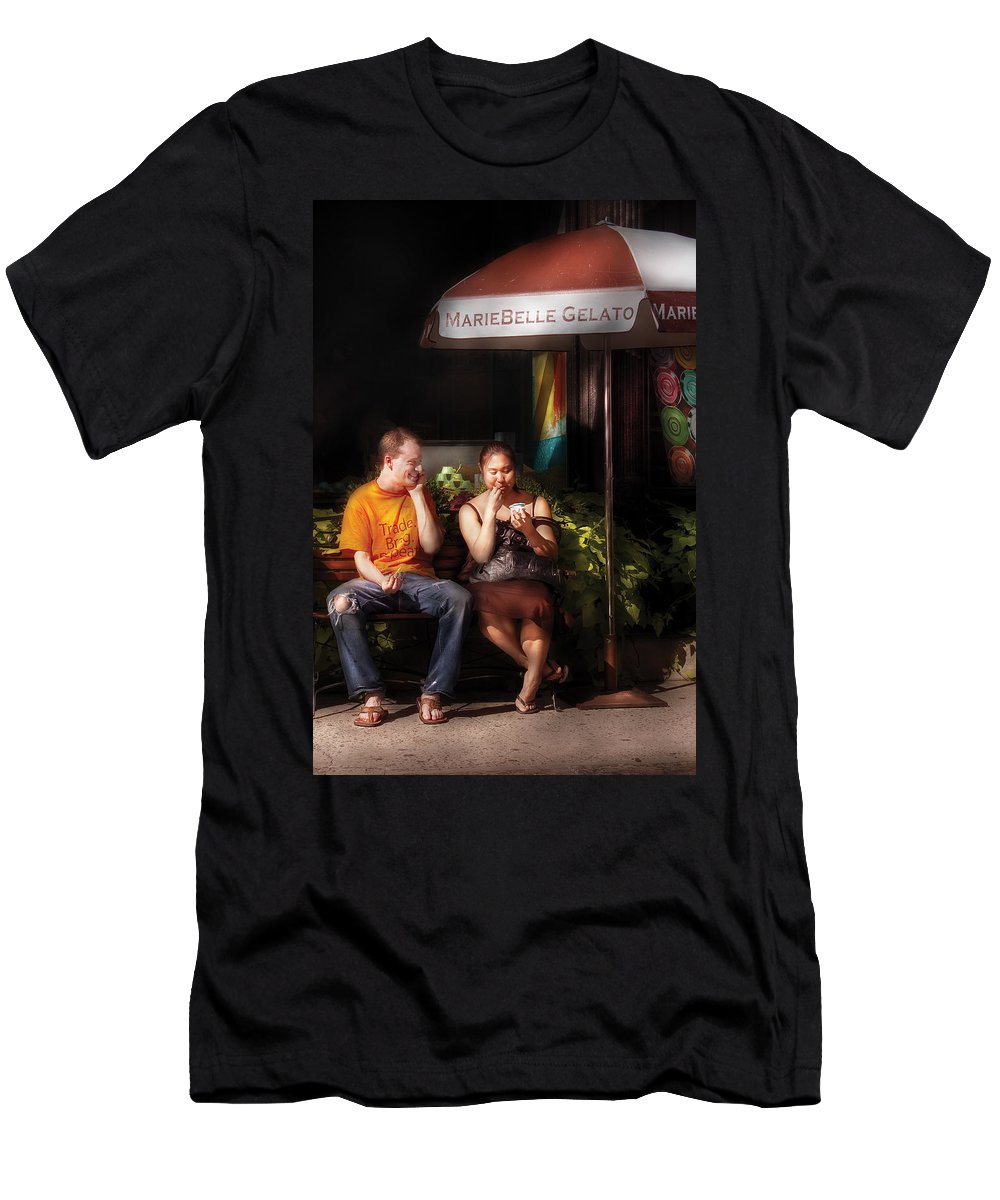 Savad Men's T-Shirt (Athletic Fit) featuring the photograph City - Ny - Mariebelle Gelato by Mike Savad