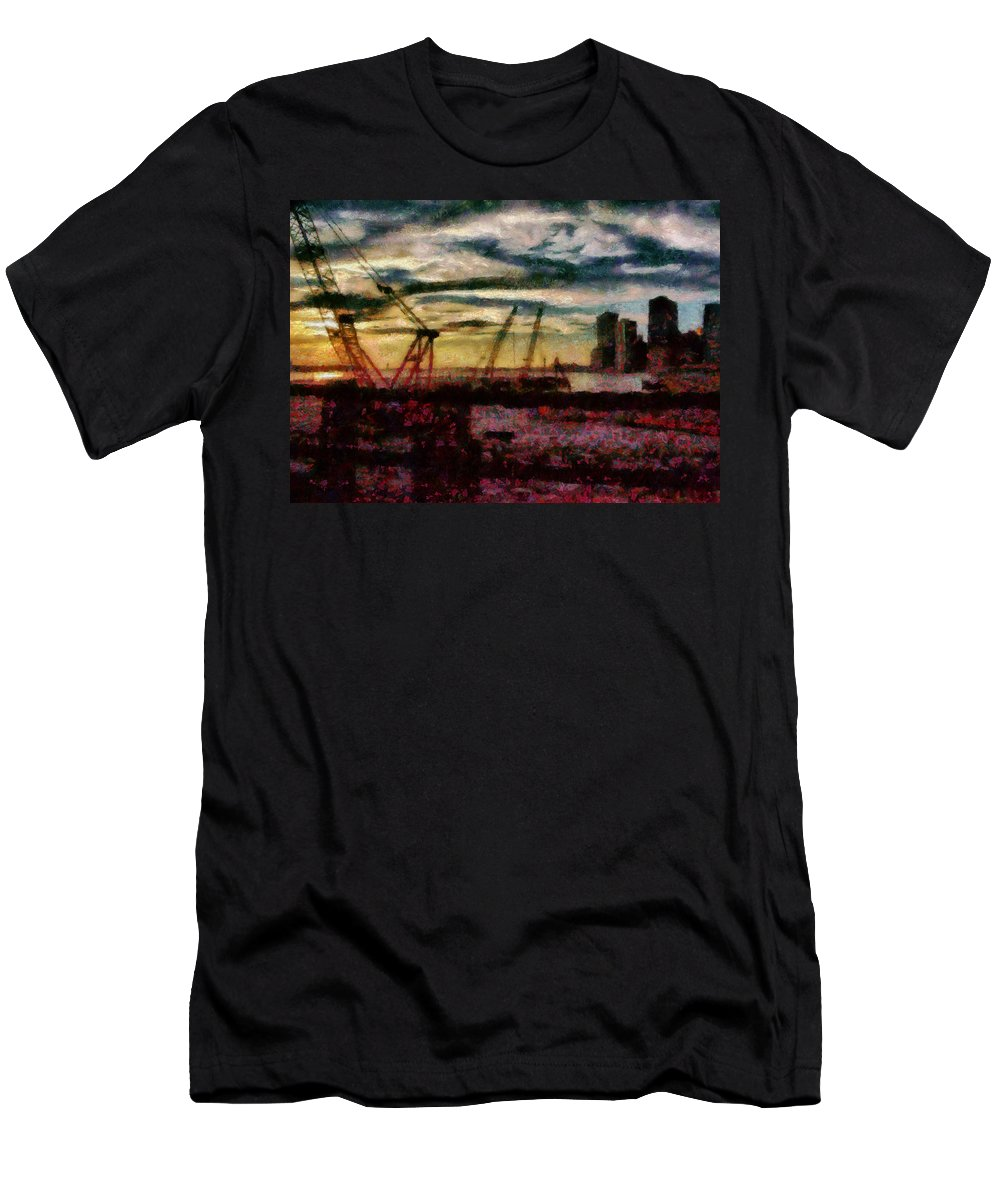 Savad Men's T-Shirt (Athletic Fit) featuring the photograph City - Ny - Overlooking The Hudson by Mike Savad