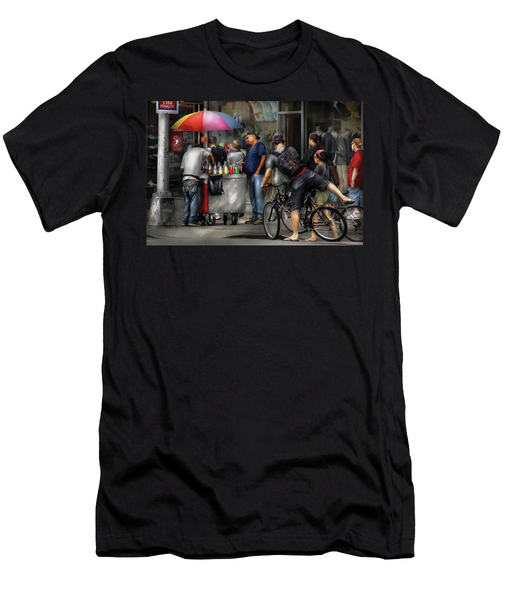 Savad Men's T-Shirt (Athletic Fit) featuring the photograph City - Ny Delancy St - Getting A Snowcone by Mike Savad