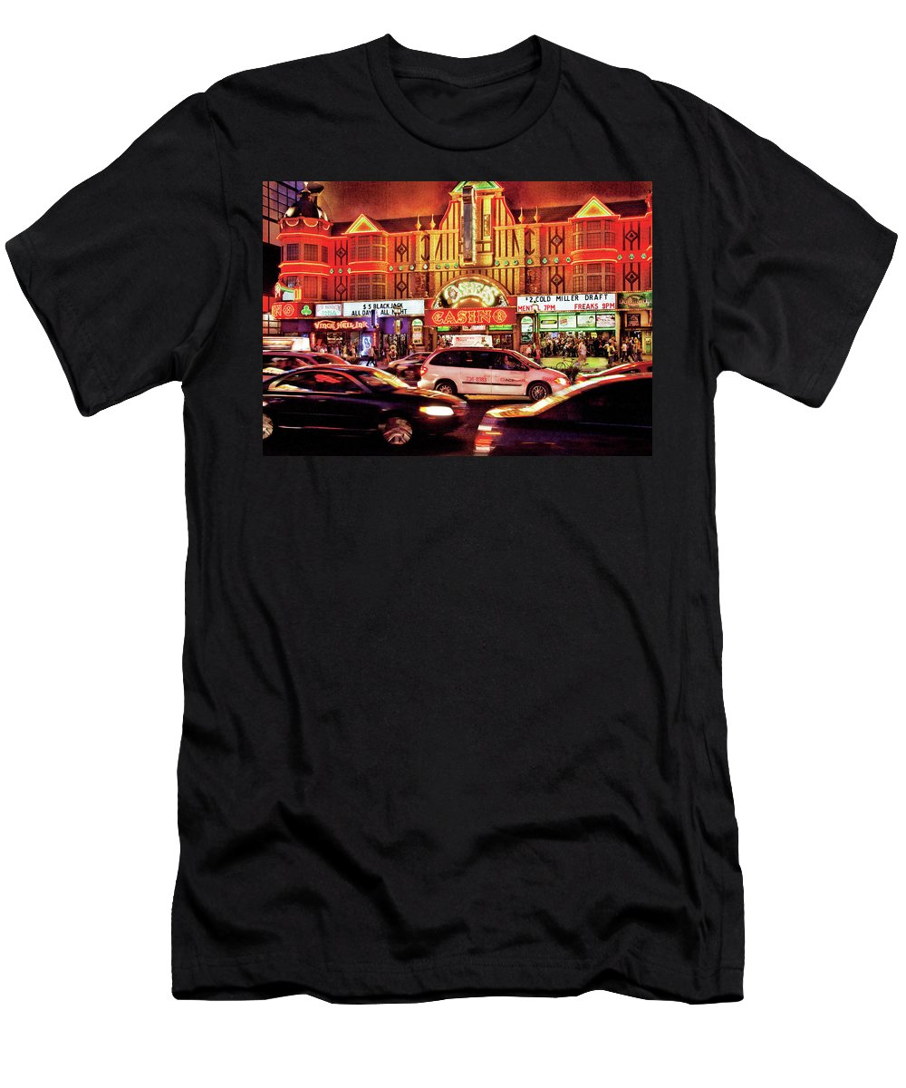 Savad Men's T-Shirt (Athletic Fit) featuring the photograph City - Vegas - O'sheas Casino by Mike Savad