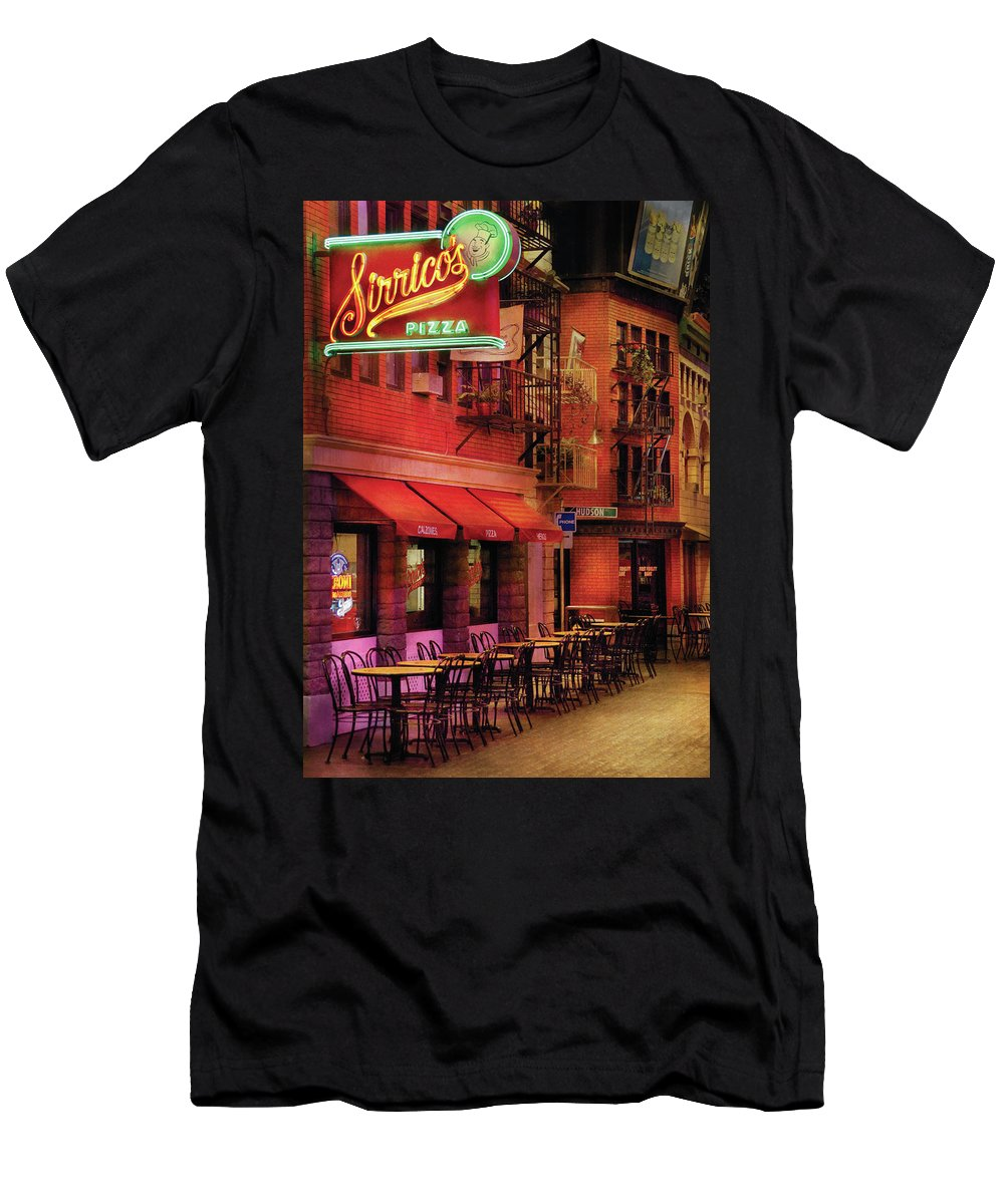 Savad Men's T-Shirt (Athletic Fit) featuring the photograph City - Vegas - The Pizza Joint by Mike Savad