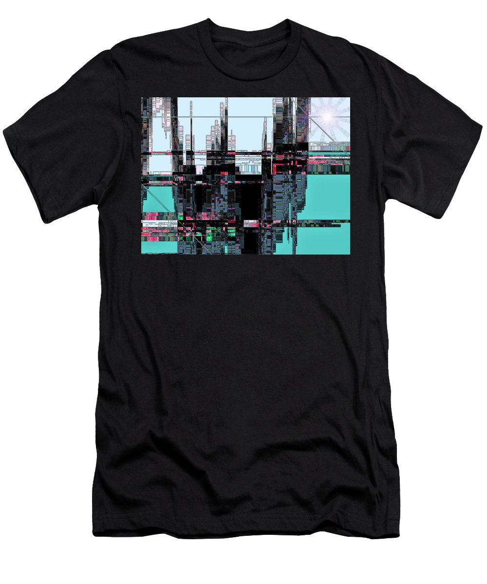 Abstract Men's T-Shirt (Athletic Fit) featuring the digital art City As Computer Chips by Lenore Senior