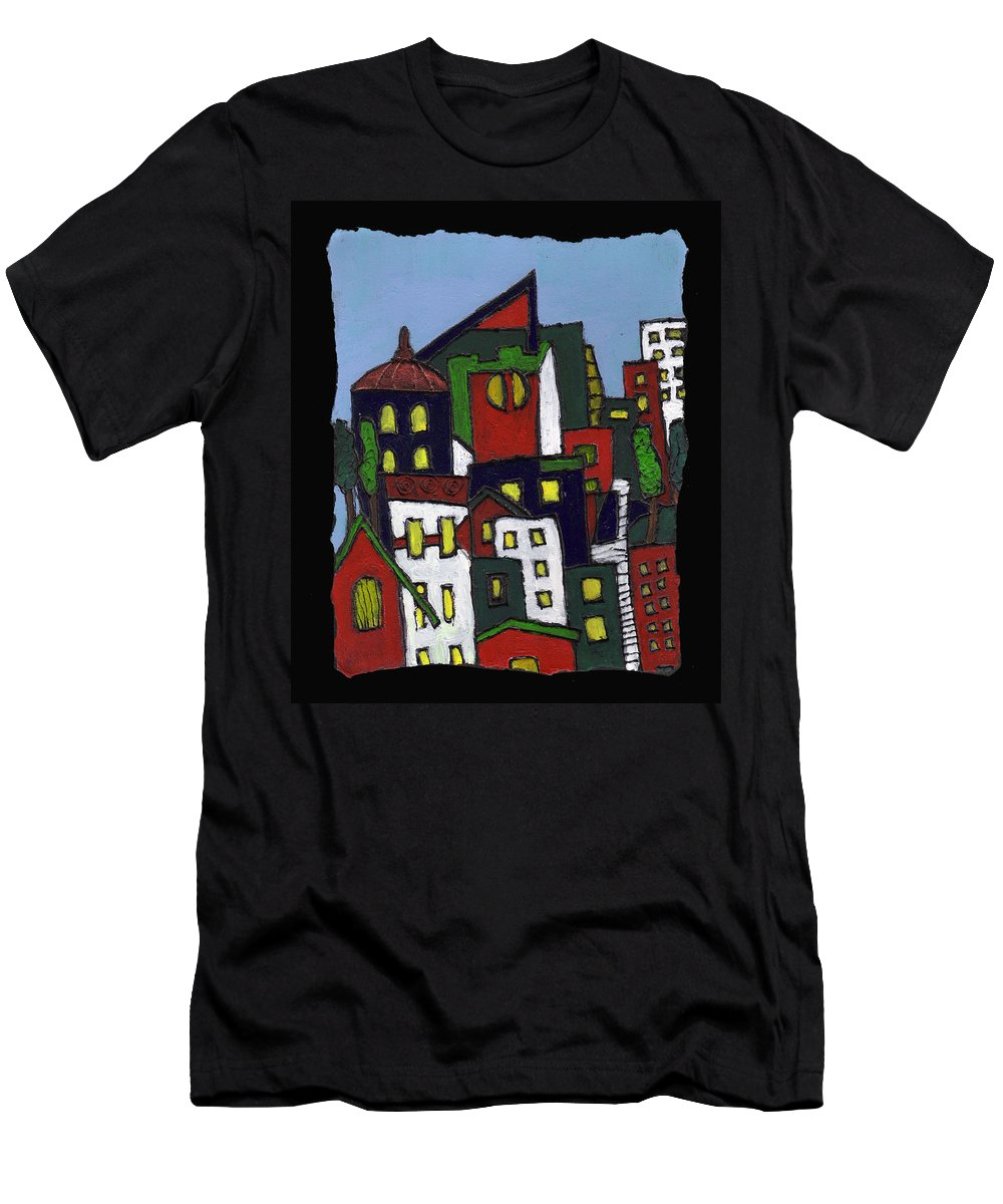 City Men's T-Shirt (Athletic Fit) featuring the painting City At Christmas by Wayne Potrafka
