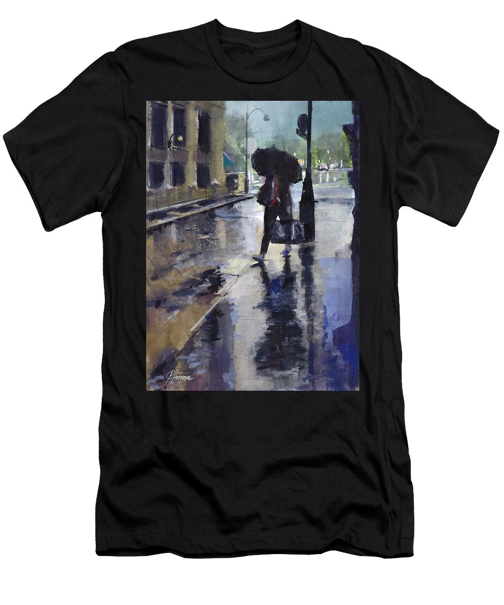 Rain Late Evening Umbrella Wet Rainy Misty Mist Gouache Watercolor Cityscape Nostalgia Moody Men's T-Shirt (Athletic Fit) featuring the painting City Evening Rain by Carlos Herrera