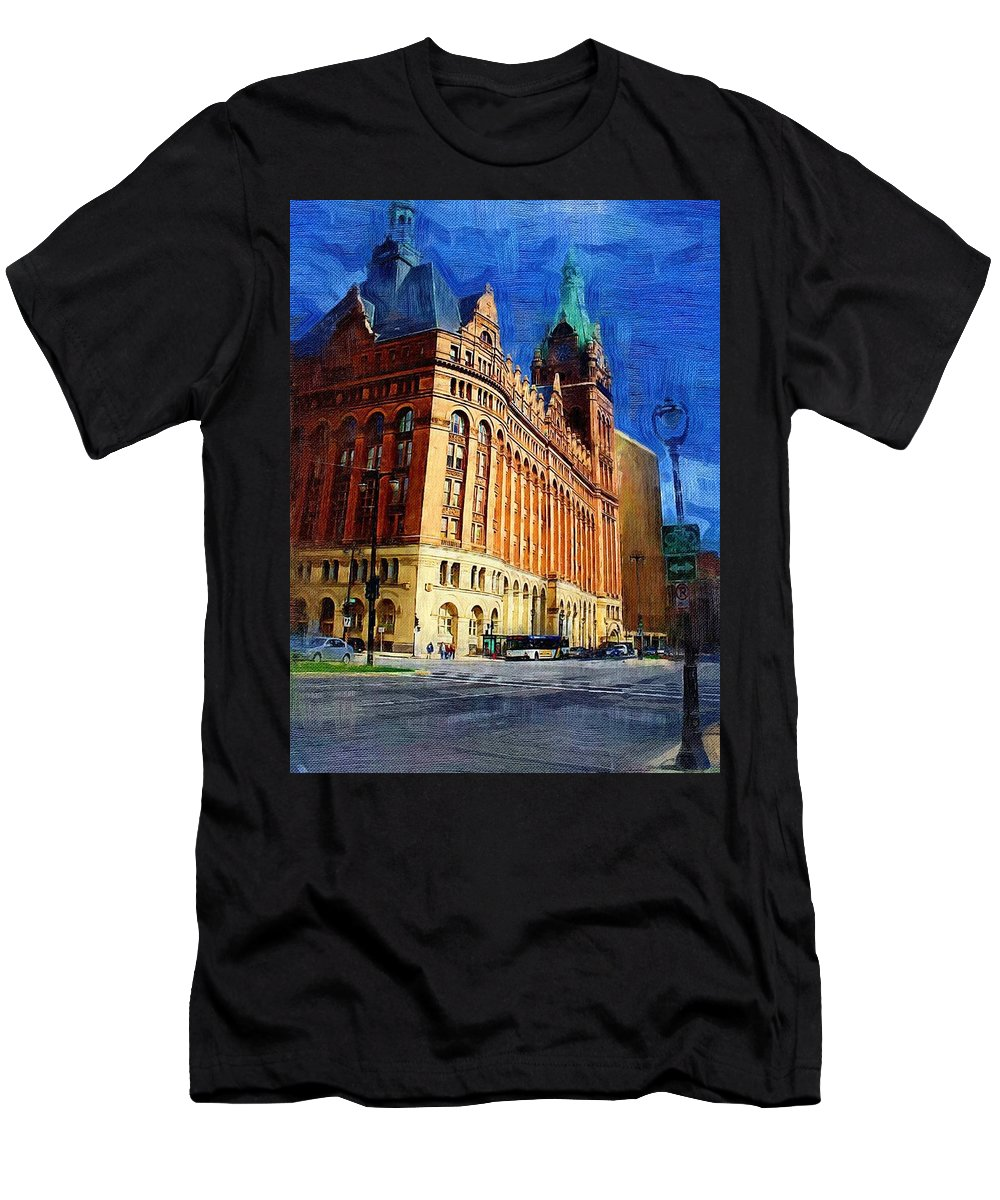 Architecture Men's T-Shirt (Athletic Fit) featuring the digital art City Hall And Lamp Post by Anita Burgermeister
