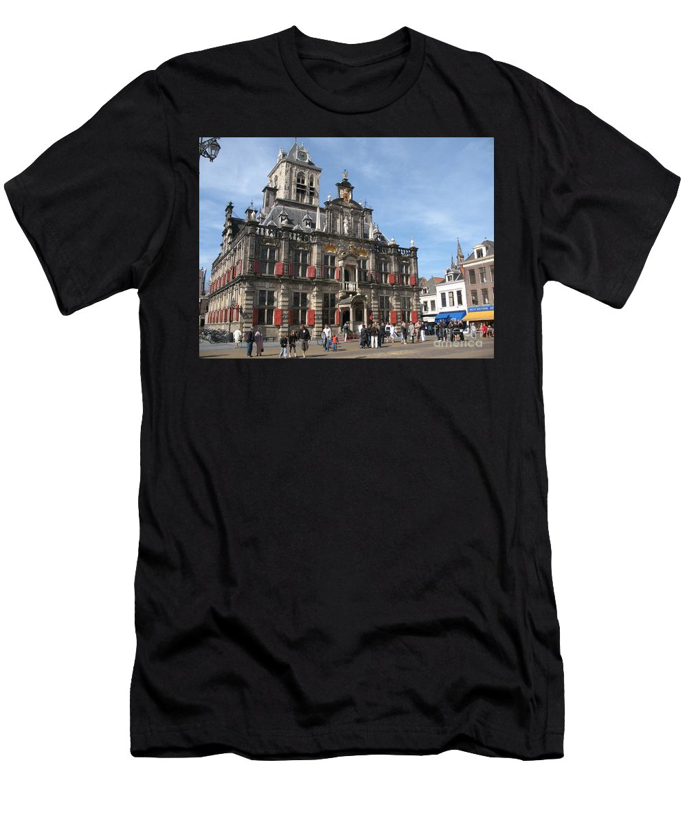 City Hall Men's T-Shirt (Athletic Fit) featuring the photograph City Hall - Delft - Netherlands by Christiane Schulze Art And Photography