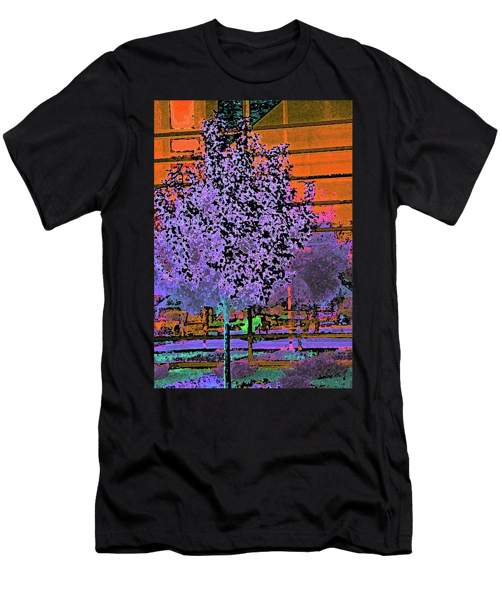 Abstract Men's T-Shirt (Athletic Fit) featuring the digital art City Landscaping Fantasy by Lenore Senior
