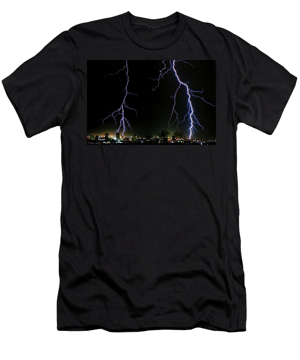 Arizona Men's T-Shirt (Athletic Fit) featuring the photograph City Lights by Cathy Franklin