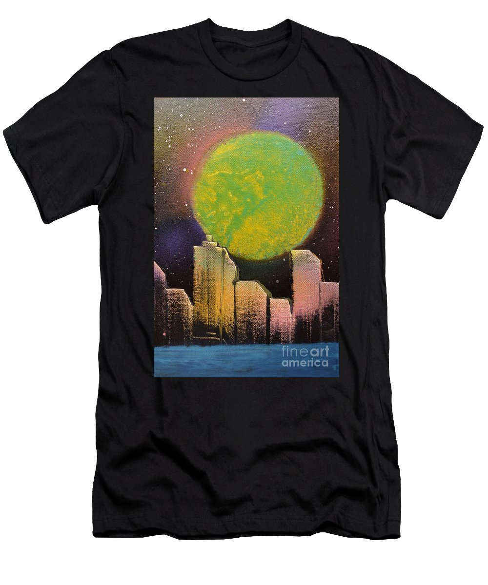 City Men's T-Shirt (Athletic Fit) featuring the painting City Lights by Zack Anderson