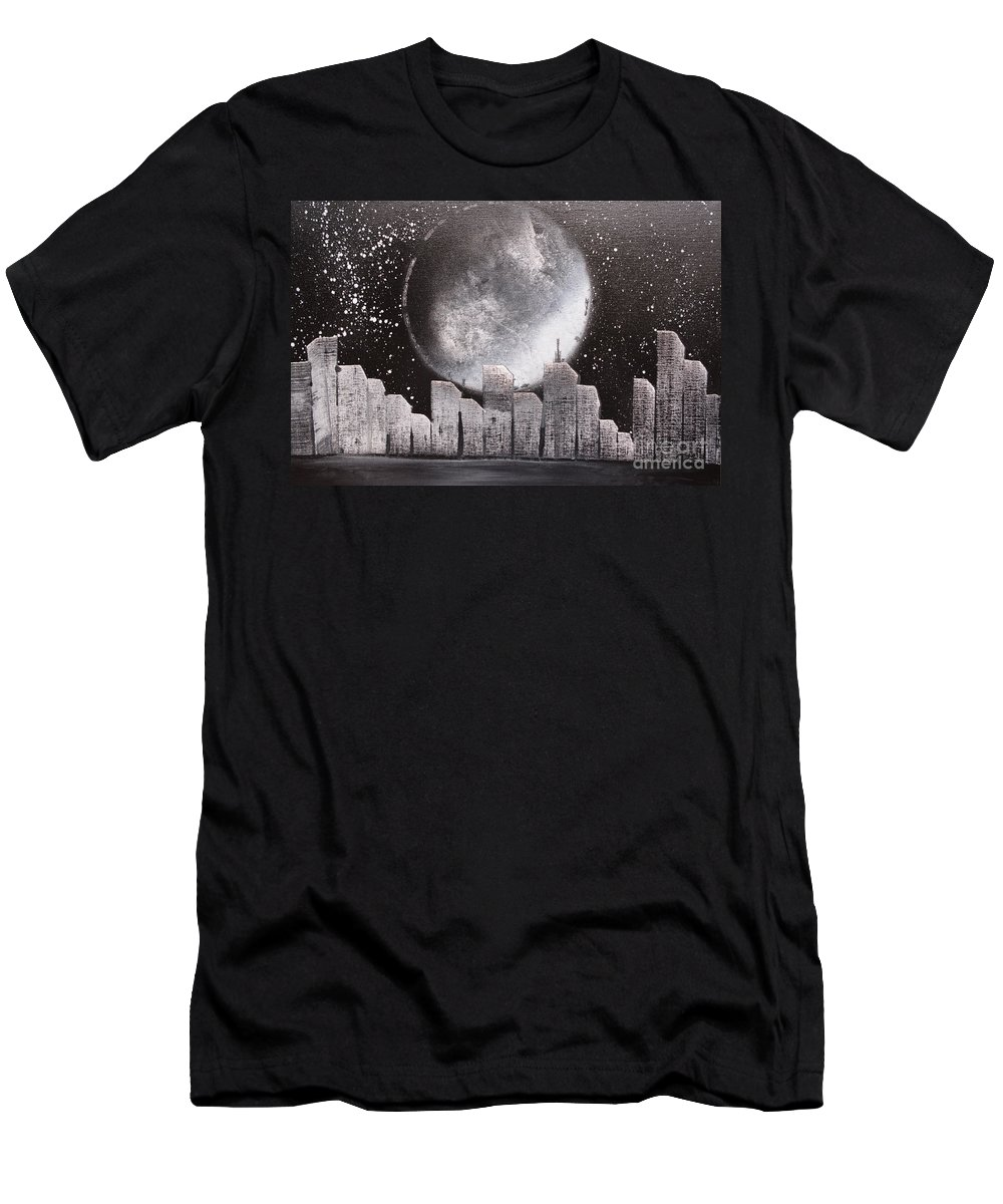 City Men's T-Shirt (Athletic Fit) featuring the painting City Night Scape by Zack Anderson