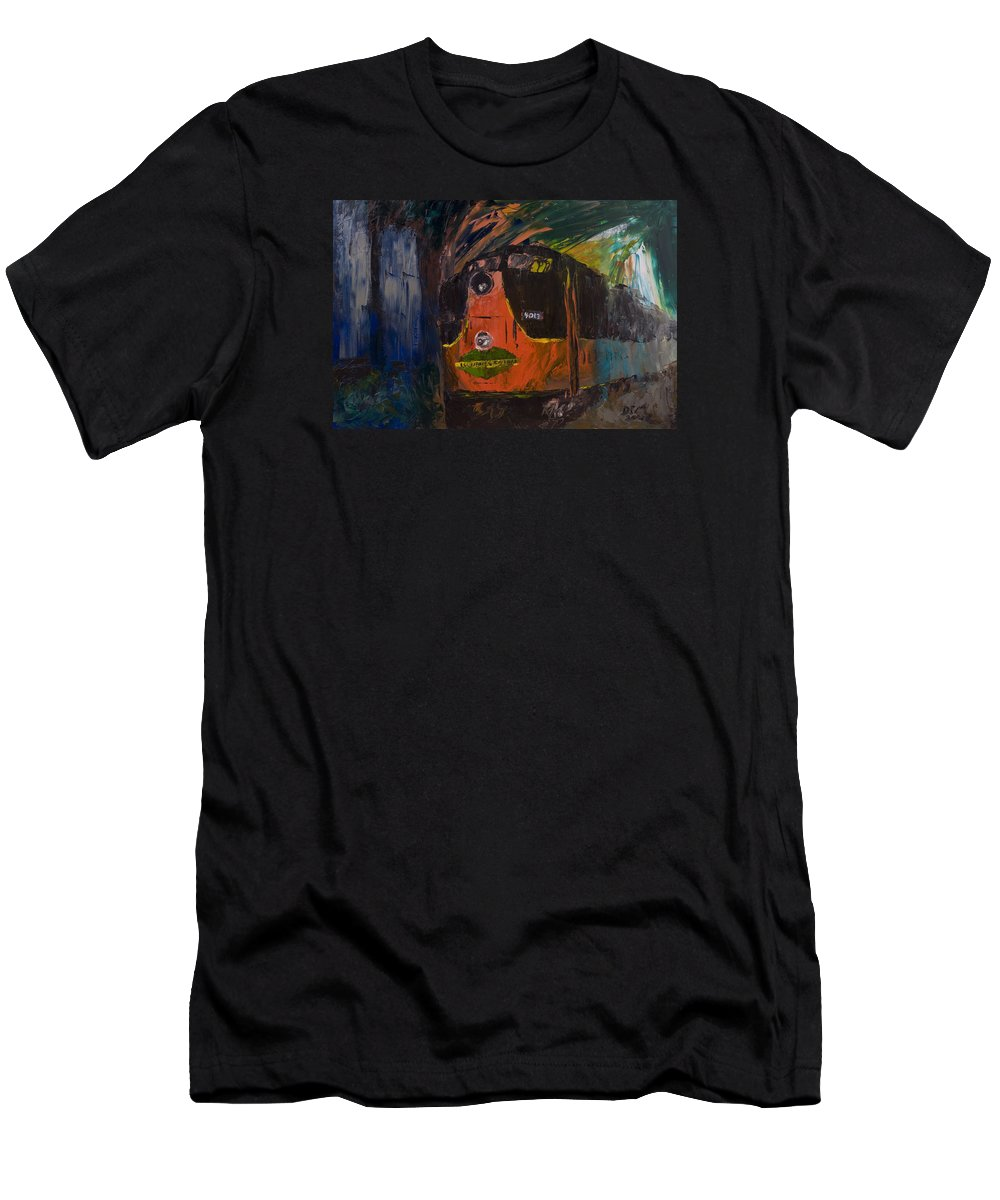 Train Men's T-Shirt (Athletic Fit) featuring the painting City Of New Orleans by David McGhee