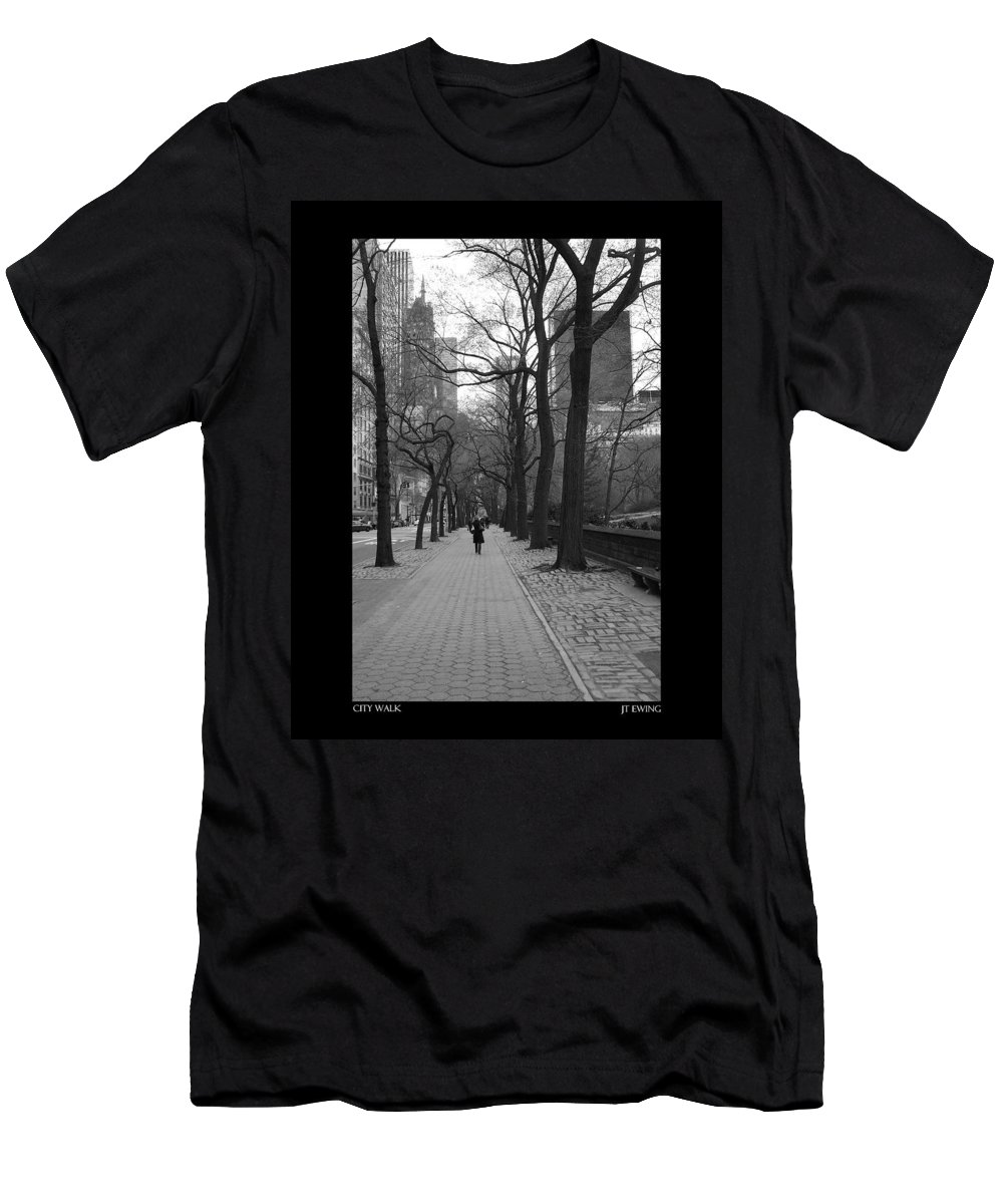 Black Men's T-Shirt (Athletic Fit) featuring the photograph City Walk by J Todd