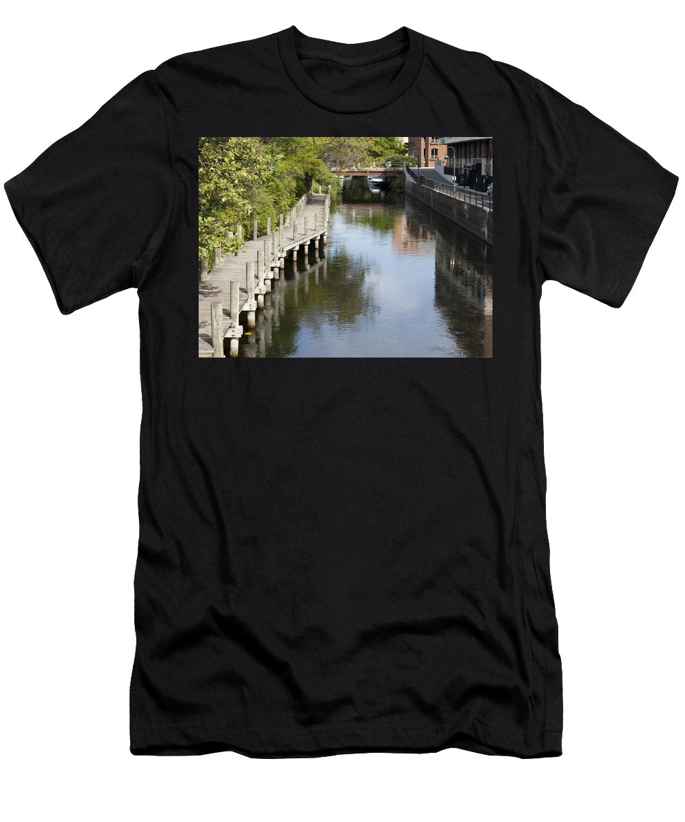 Water Waterway Traverse City Traverse City River Reflection Reflections Nature City Combined Men's T-Shirt (Athletic Fit) featuring the photograph City Waterway by Tara Lynn
