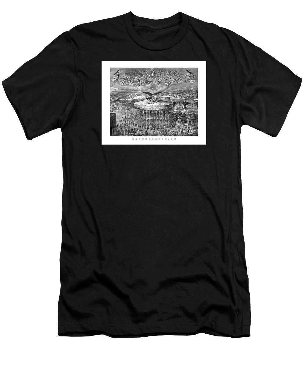 Civil War Men's T-Shirt (Athletic Fit) featuring the painting Civil War Reconstruction by War Is Hell Store