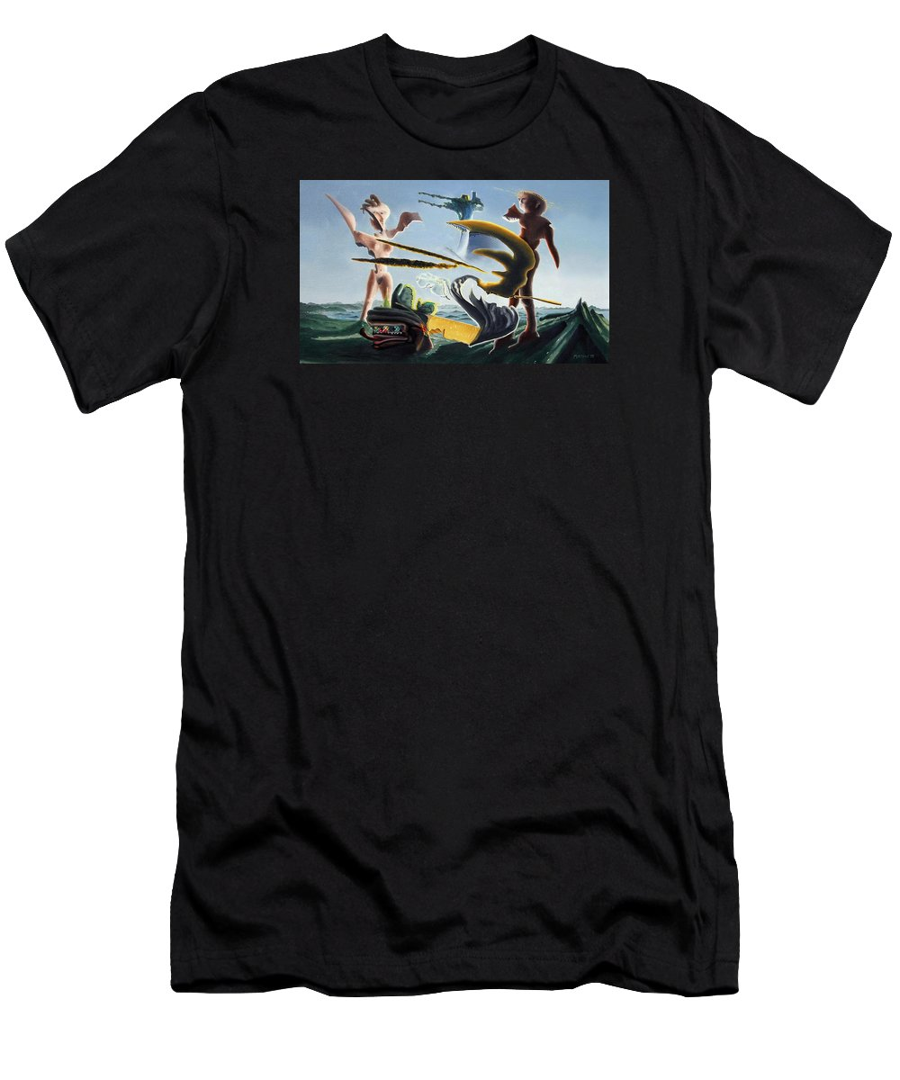 Landscape Men's T-Shirt (Athletic Fit) featuring the painting Civilization Found Intact by Dave Martsolf