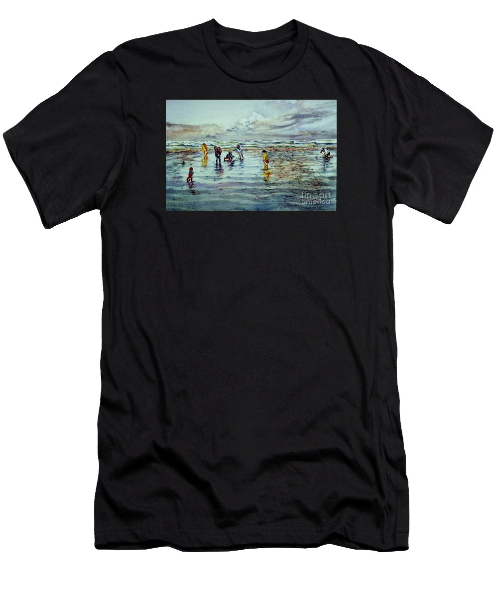 Cynthia Pride Watercolor Painting Men's T-Shirt (Athletic Fit) featuring the painting Clamdigging Family by Cynthia Pride