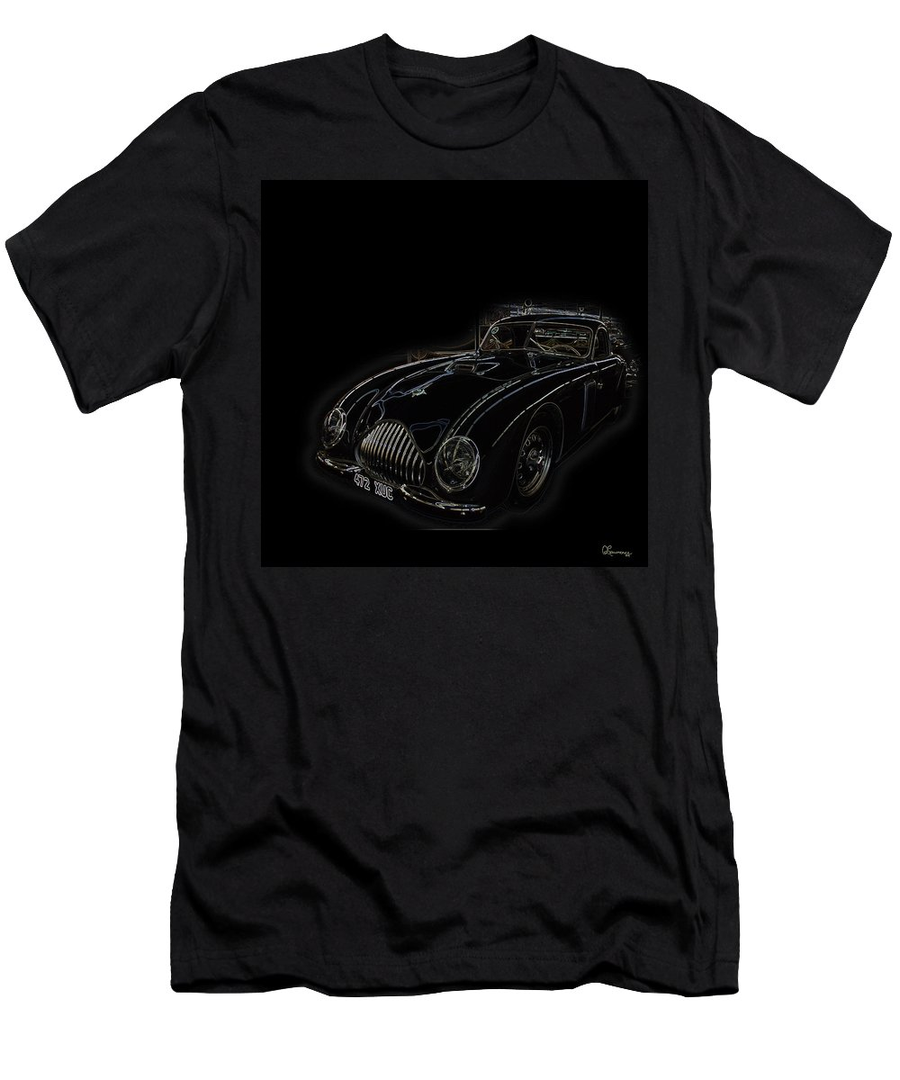 Classic Car Antique Show Room Vehicle Glowing Edge Black Light Chevy Dodge Ford Ride Men's T-Shirt (Athletic Fit) featuring the photograph Classic 2 by Andrea Lawrence