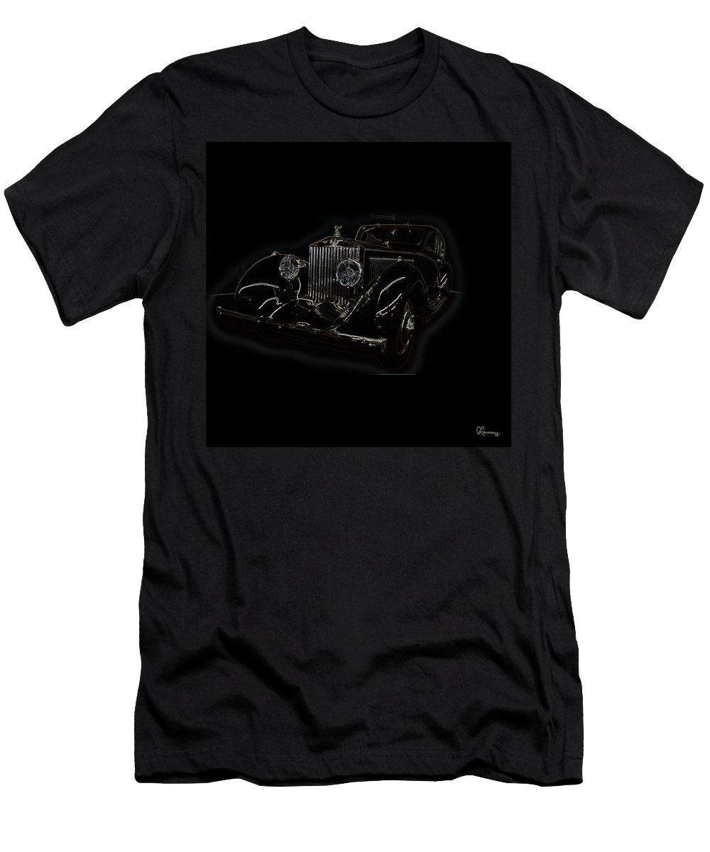 Classic Car Antique Show Room Vehicle Glowing Edge Black Light Chevy Dodge Ford Ride Men's T-Shirt (Athletic Fit) featuring the photograph Classic 3 by Andrea Lawrence