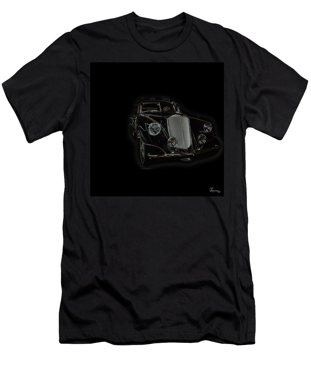 Classic Car Antique Show Room Vehicle Glowing Edge Black Light Chevy Dodge Ford Ride Men's T-Shirt (Athletic Fit) featuring the photograph Classic 4 by Andrea Lawrence