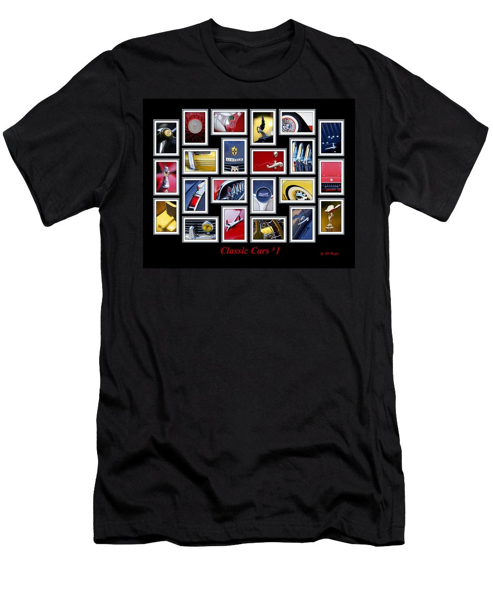 Classic Cars Men's T-Shirt (Athletic Fit) featuring the photograph Classic Car Montage Art 1 by Jill Reger