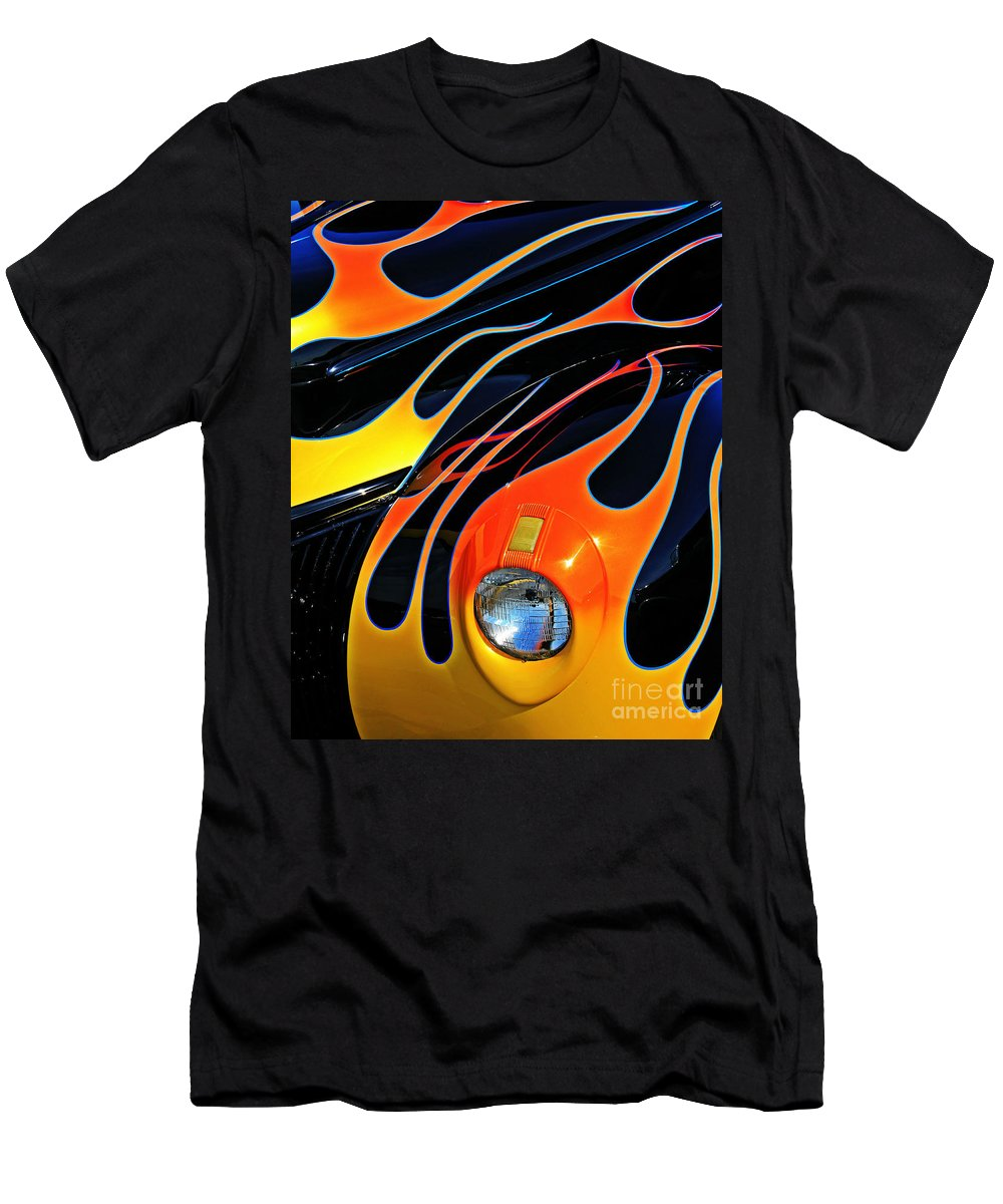 Hot Rod Men's T-Shirt (Athletic Fit) featuring the photograph Classic Flames by Perry Webster