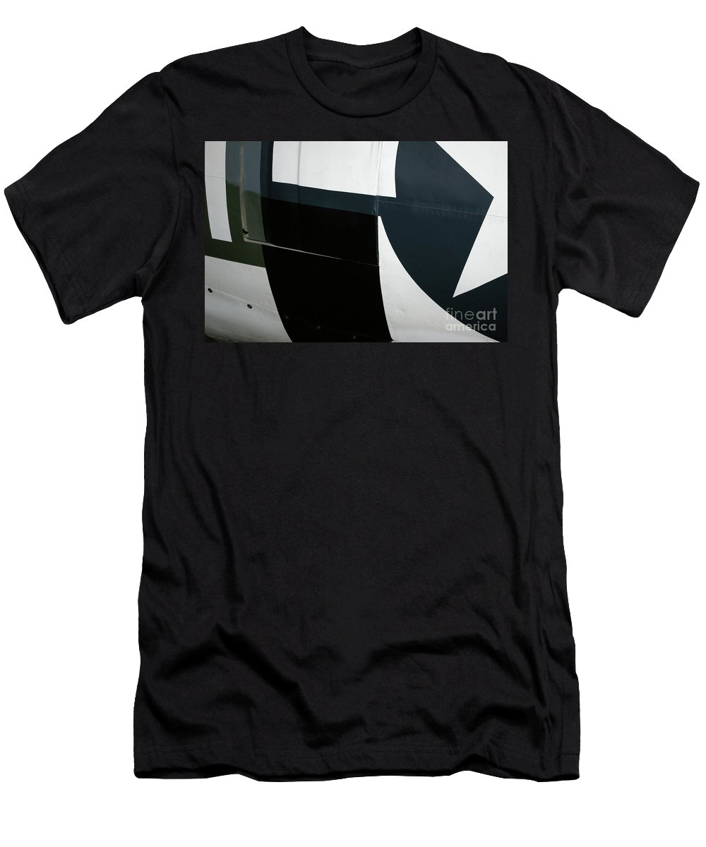 Abstract Men's T-Shirt (Athletic Fit) featuring the photograph Classic Military Aircraft Abstract- Star 2 by Rick Bures