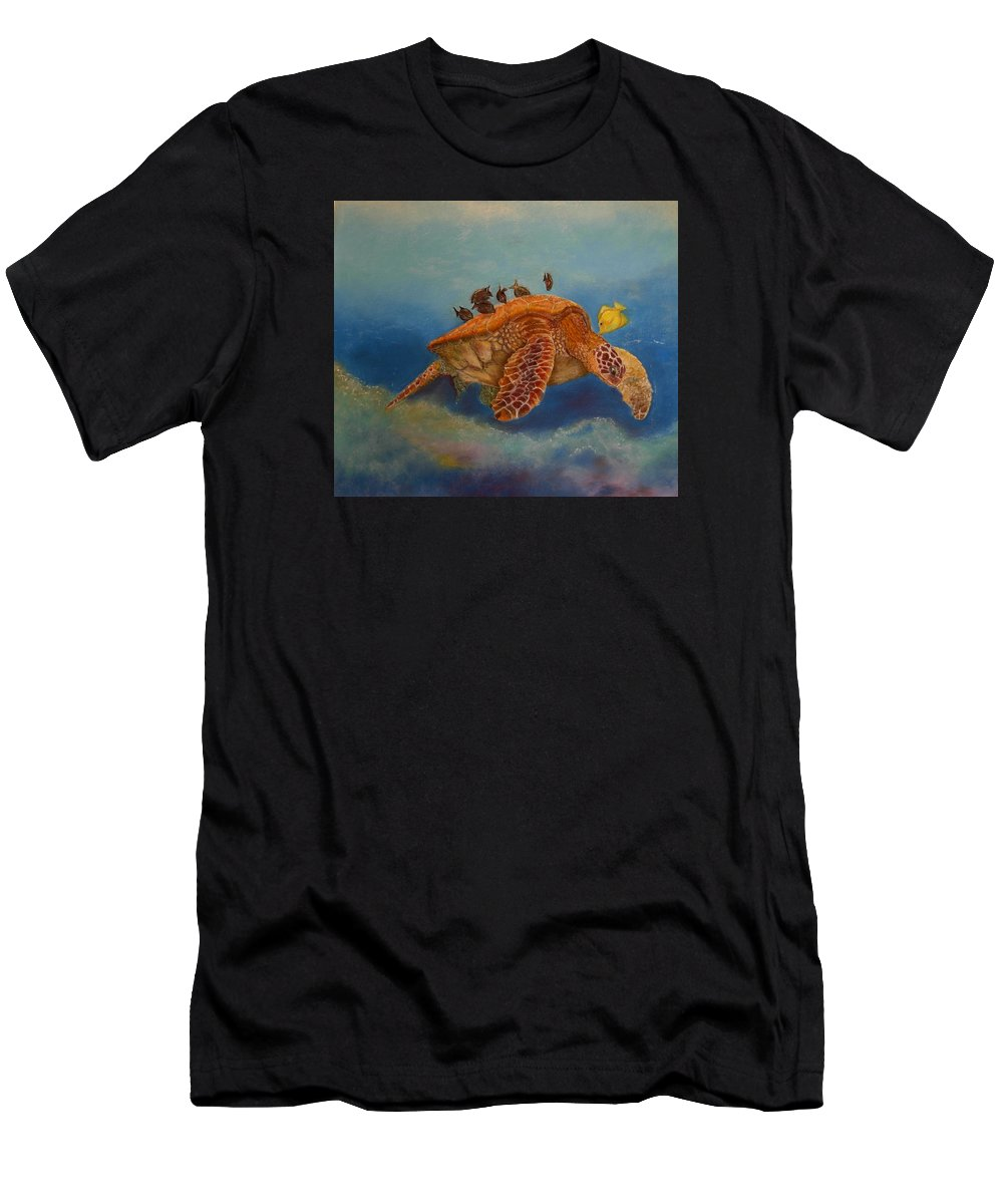 Turtle Men's T-Shirt (Athletic Fit) featuring the painting Cleaning Station by Ceci Watson