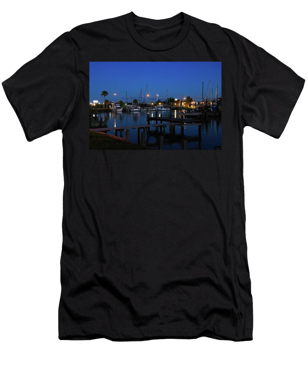 Pier Men's T-Shirt (Athletic Fit) featuring the photograph Clear Lake Shores,tx by Burge Darwin