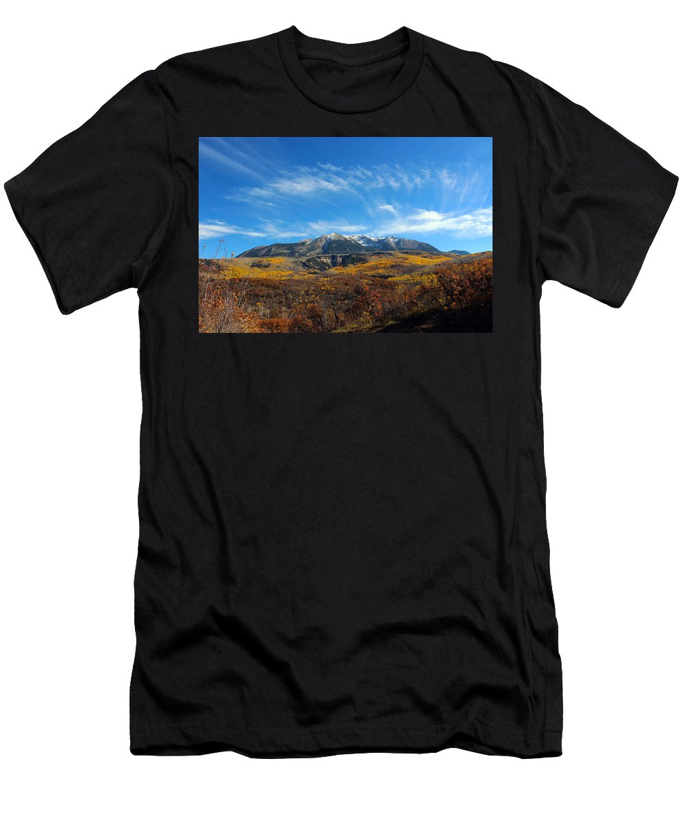 Mountain Men's T-Shirt (Athletic Fit) featuring the photograph Clear Skies by Samantha Burrow
