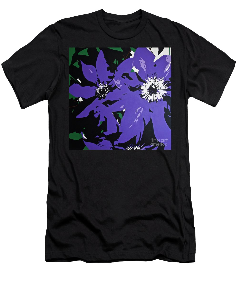 Macro Men's T-Shirt (Athletic Fit) featuring the painting Clematis Jackmanii by Susan Porter