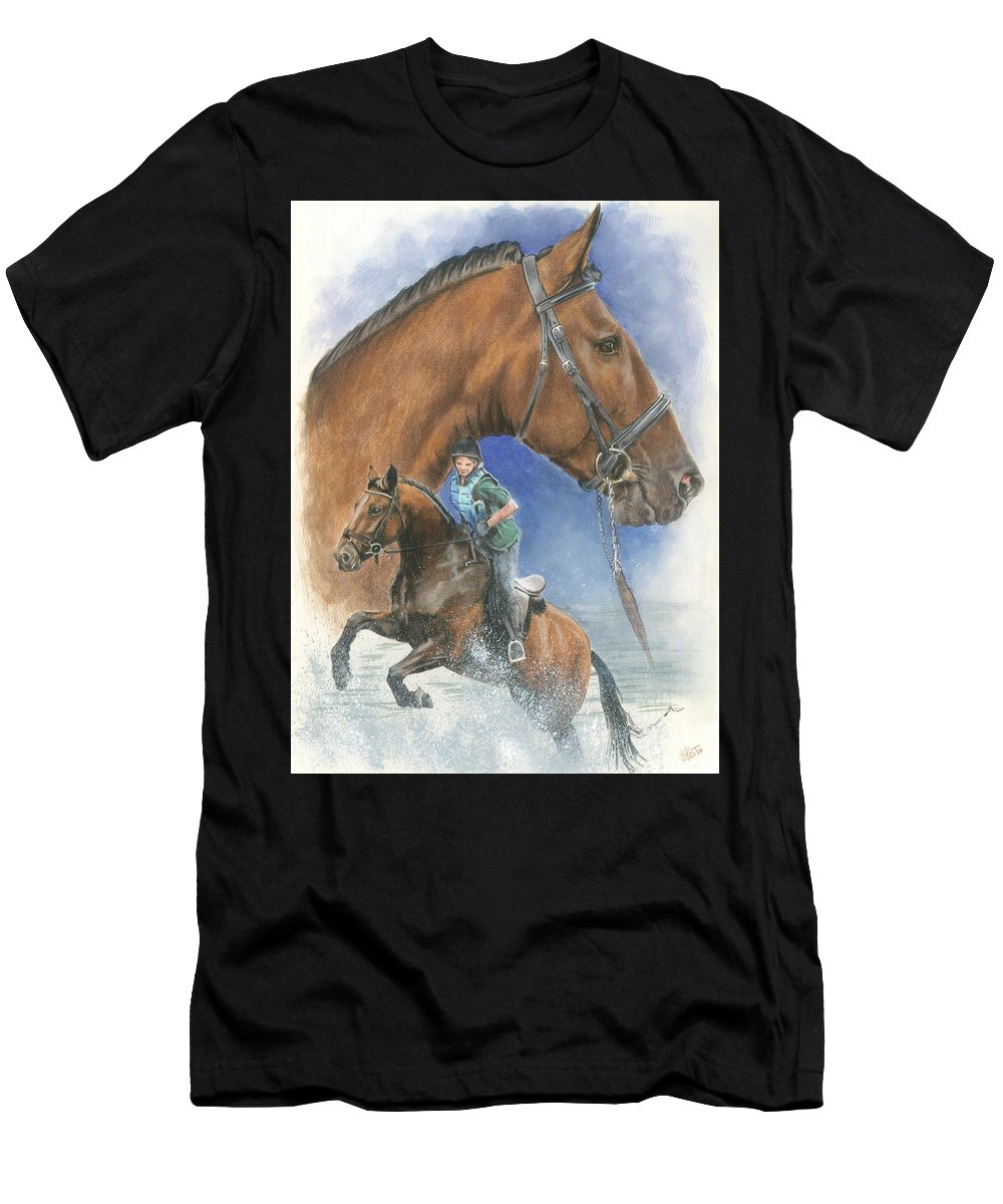Hunter Jumper Men's T-Shirt (Athletic Fit) featuring the mixed media Cleveland Bay by Barbara Keith