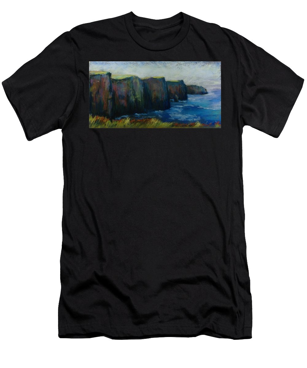 Seascape Men's T-Shirt (Athletic Fit) featuring the pastel Cliffs Of Moher by Pat Snook
