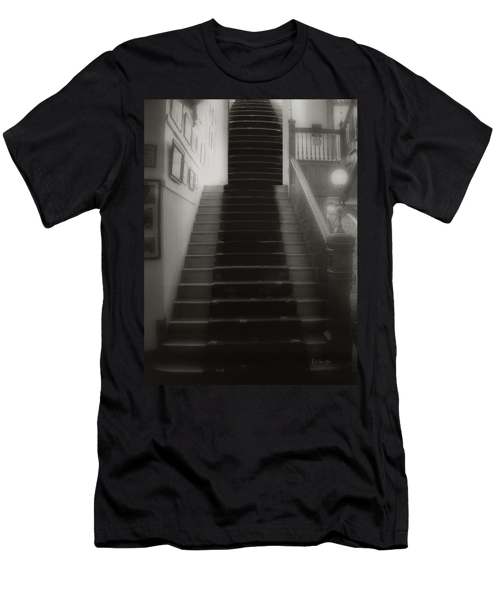 Black And White Men's T-Shirt (Athletic Fit) featuring the photograph Climbing Toward The Unknown by RC DeWinter