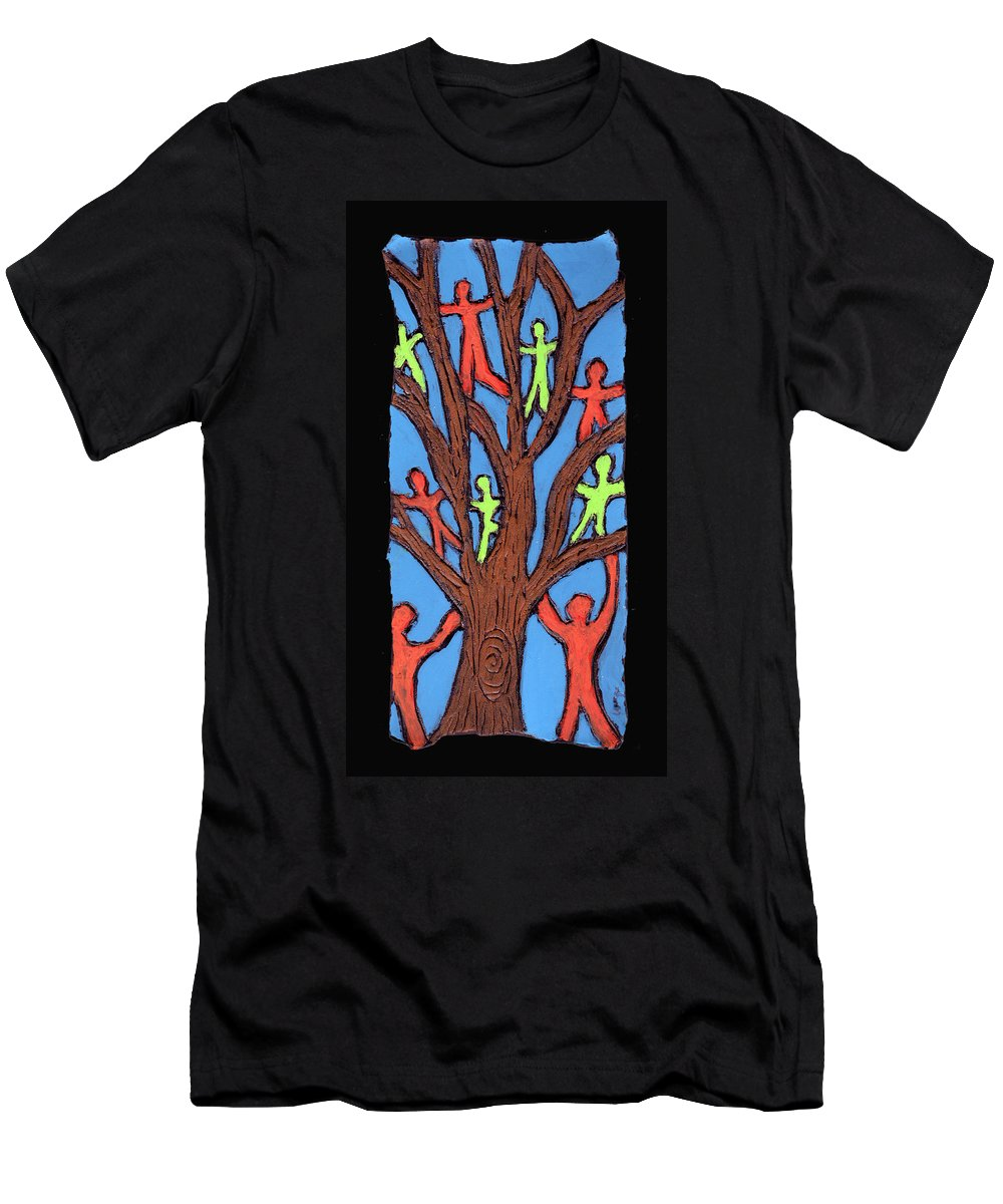 People Men's T-Shirt (Athletic Fit) featuring the painting Climbing by Wayne Potrafka