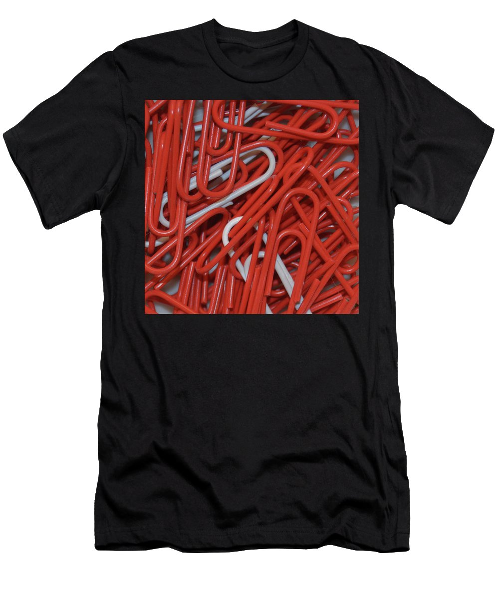 Paper Clips Men's T-Shirt (Athletic Fit) featuring the digital art Clip It by Kathy Kelly