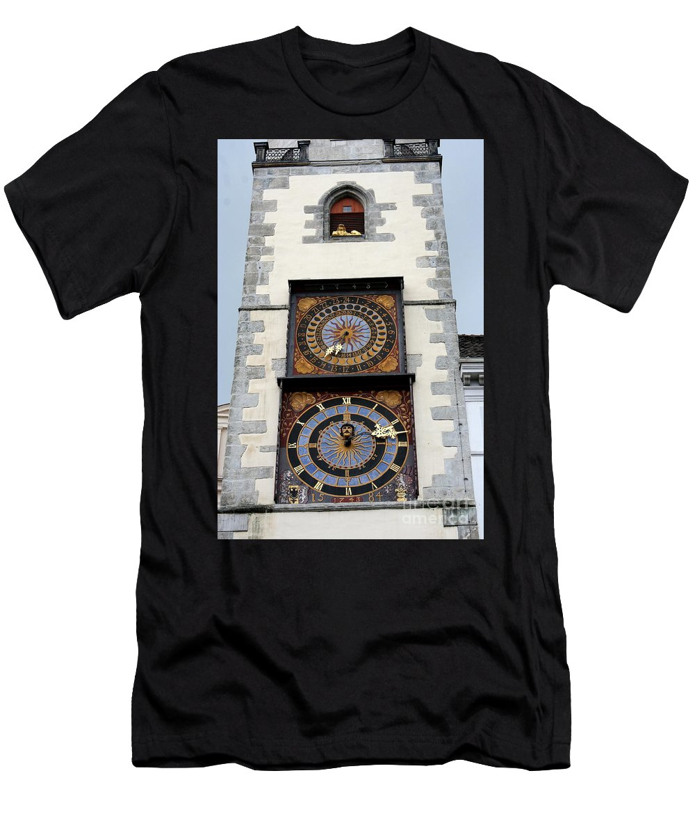 Clock Men's T-Shirt (Athletic Fit) featuring the photograph Clock Tower by Christiane Schulze Art And Photography
