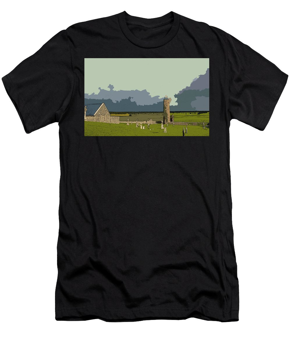Clonmacnoise Monastery Men's T-Shirt (Athletic Fit) featuring the digital art Clonmacnoise Monastery by Lora Battle