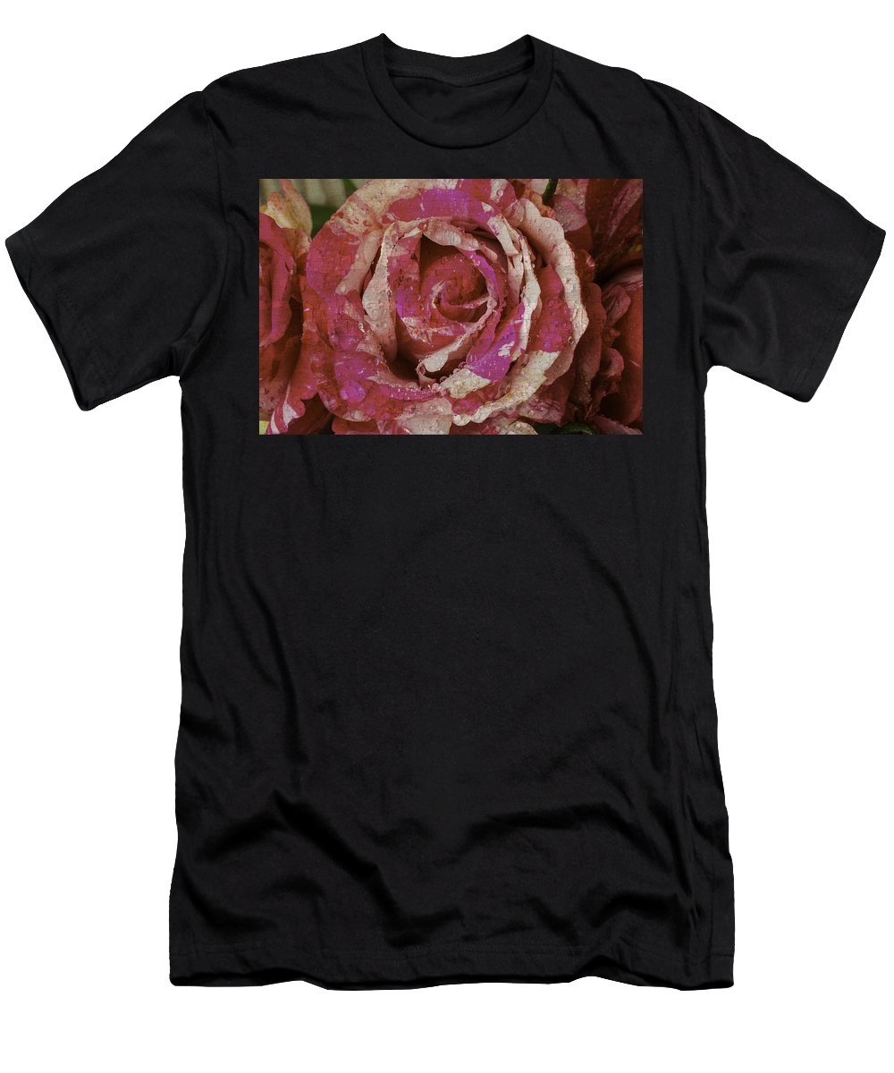 Rose Men's T-Shirt (Athletic Fit) featuring the photograph Close Up Pink Red Rose by Garry Gay