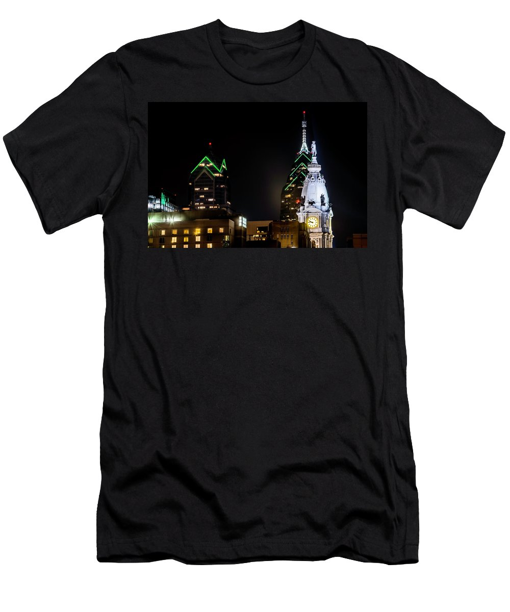 #philadelphia #phillyskyline #cityhall Men's T-Shirt (Athletic Fit) featuring the photograph Closeup Of City Hall Philadelphia by Richard Dorr