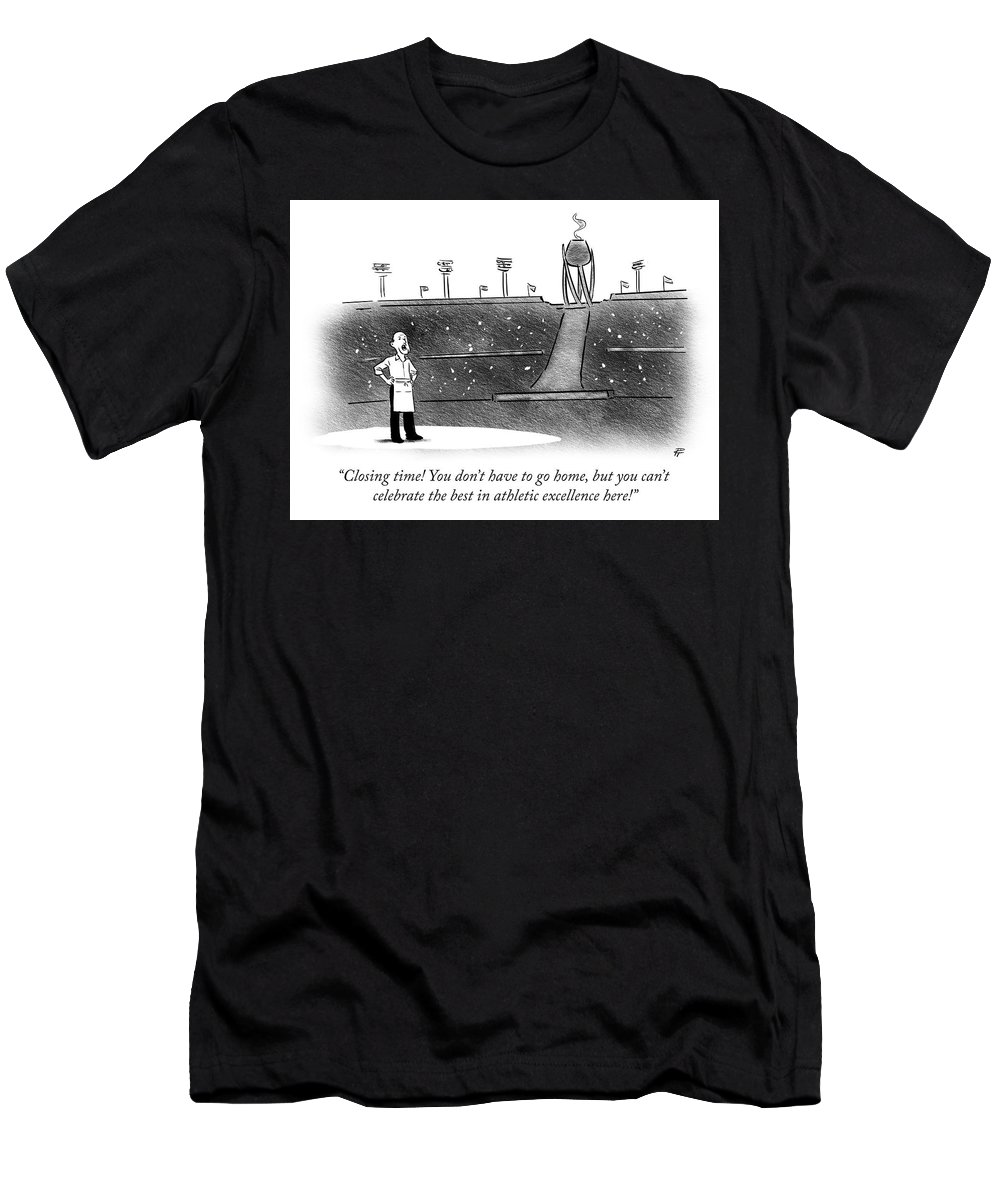 """""""closing Time! You Don't Have To Go Home Men's T-Shirt (Athletic Fit) featuring the drawing Closing Time by Pia Guerra"""