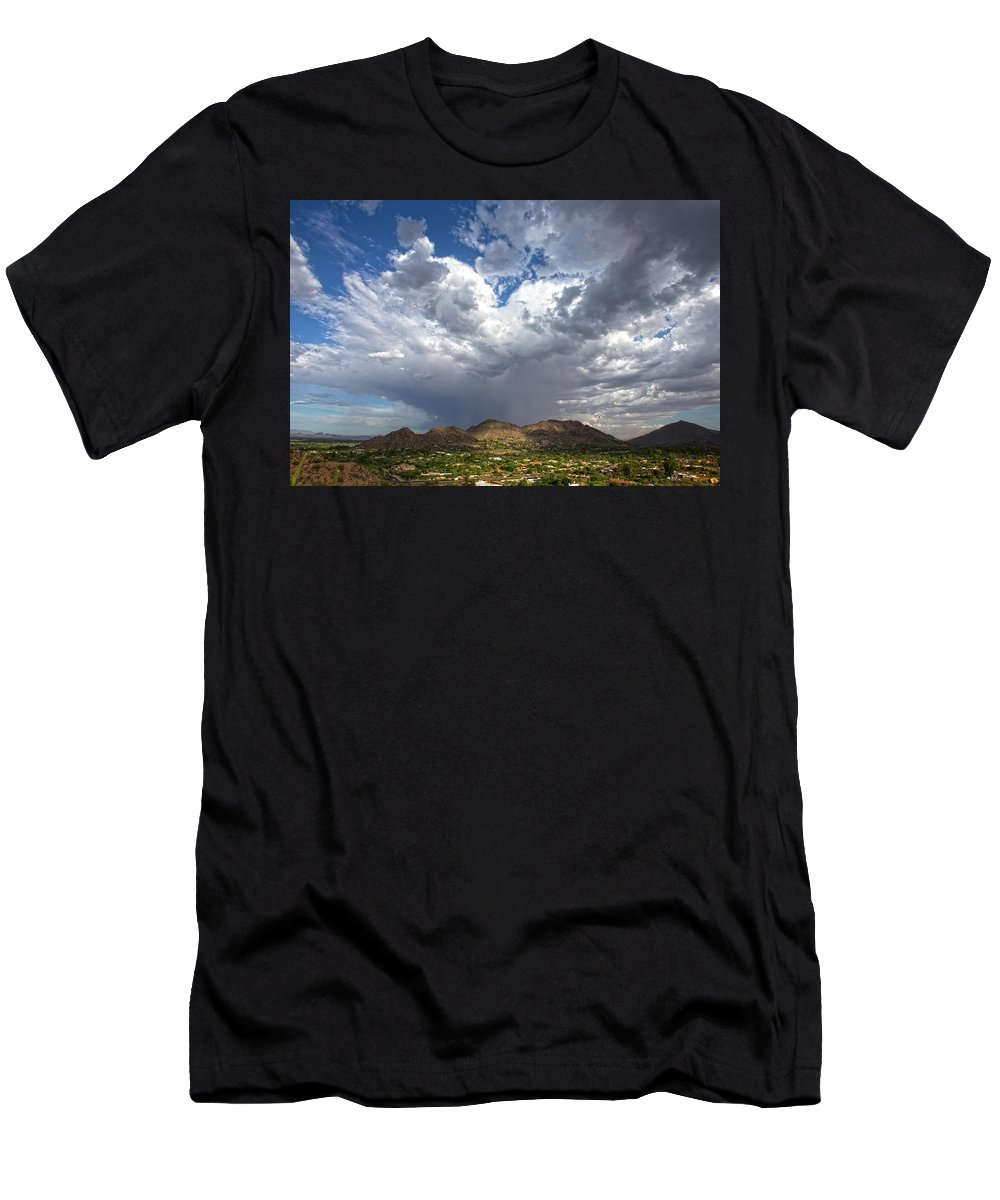 Arizona T-Shirt featuring the photograph Cloud Burst Over Mummy Mountain by Cathy Franklin