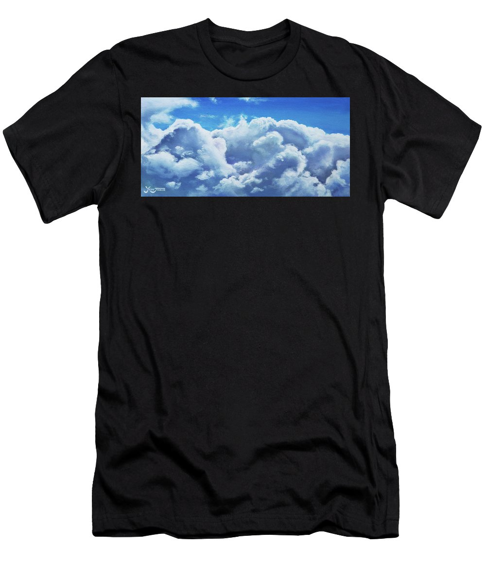 Clouds Men's T-Shirt (Athletic Fit) featuring the painting Cloudbank by Yeshe Jackson