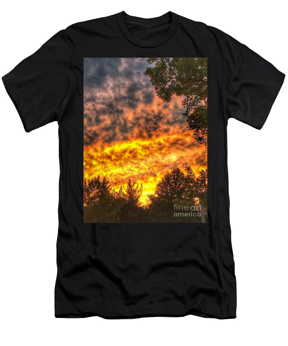 A Photos Of Clouds And Sunset In Fair Lawn Nj Men's T-Shirt (Athletic Fit) featuring the photograph Clouds And Sunset by William Rogers