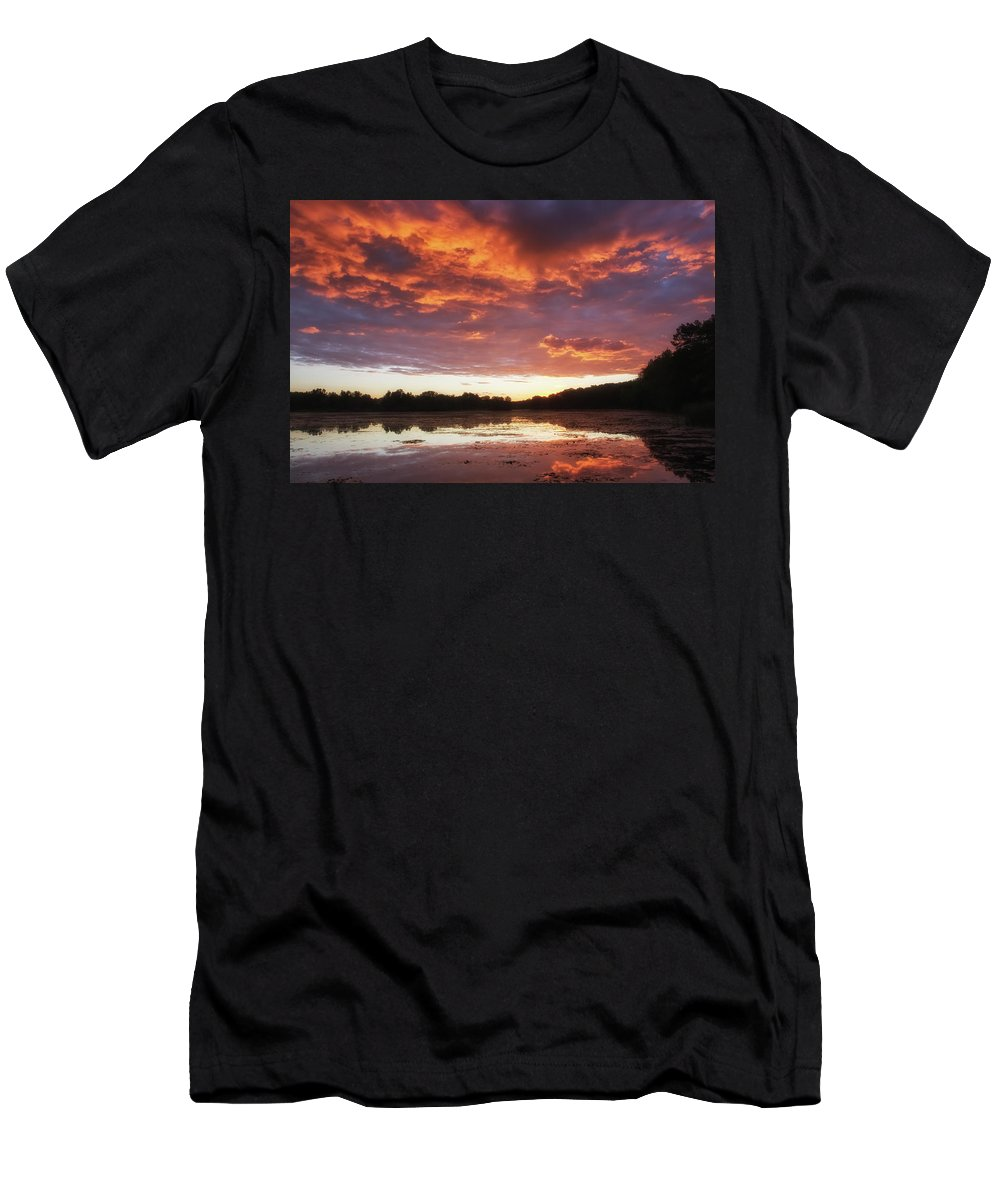 Clouds Men's T-Shirt (Athletic Fit) featuring the photograph Clouds On Fire by Heather Kenward