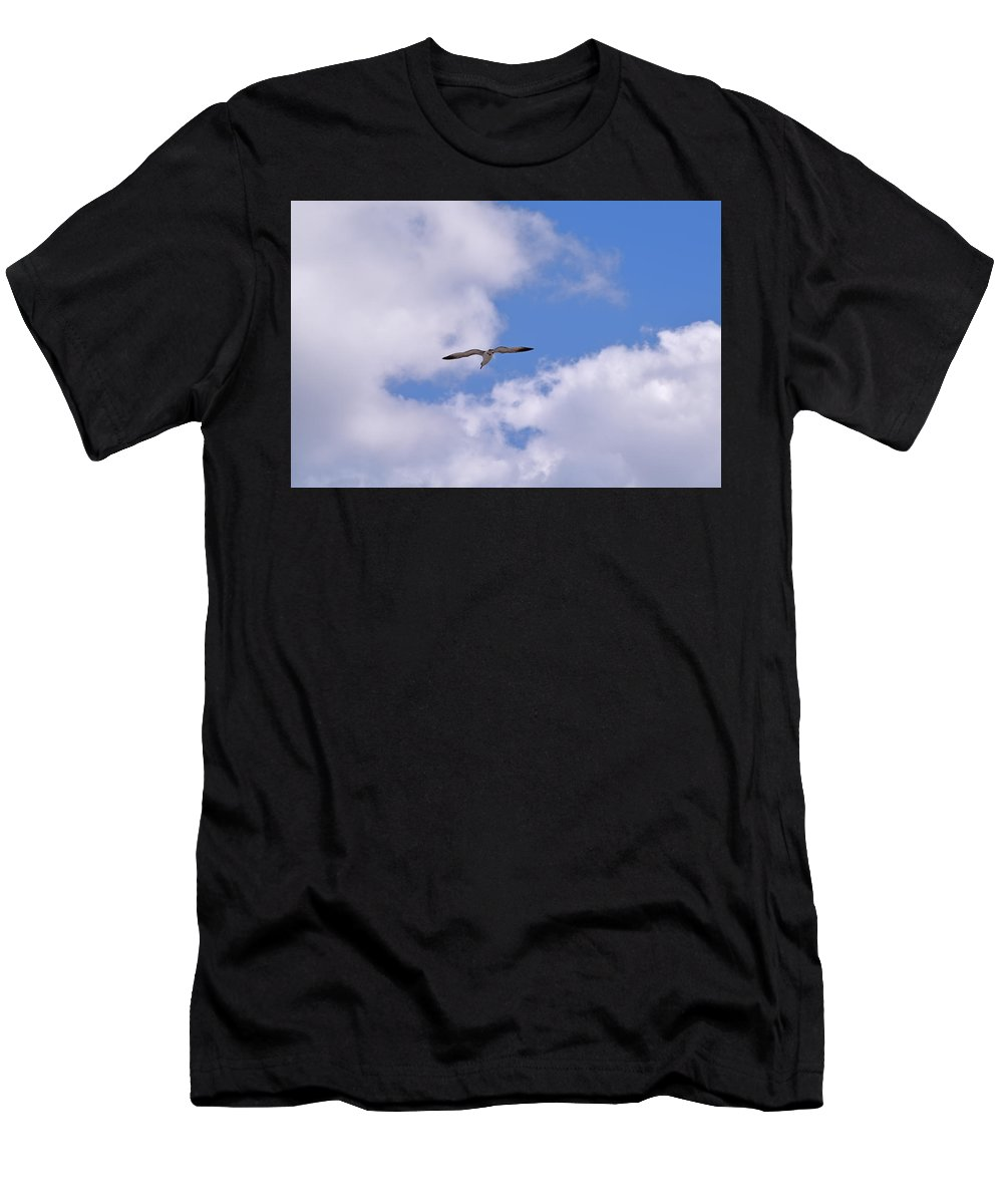 Sea Bird Men's T-Shirt (Athletic Fit) featuring the photograph Cloudy Skies by Maria Keady