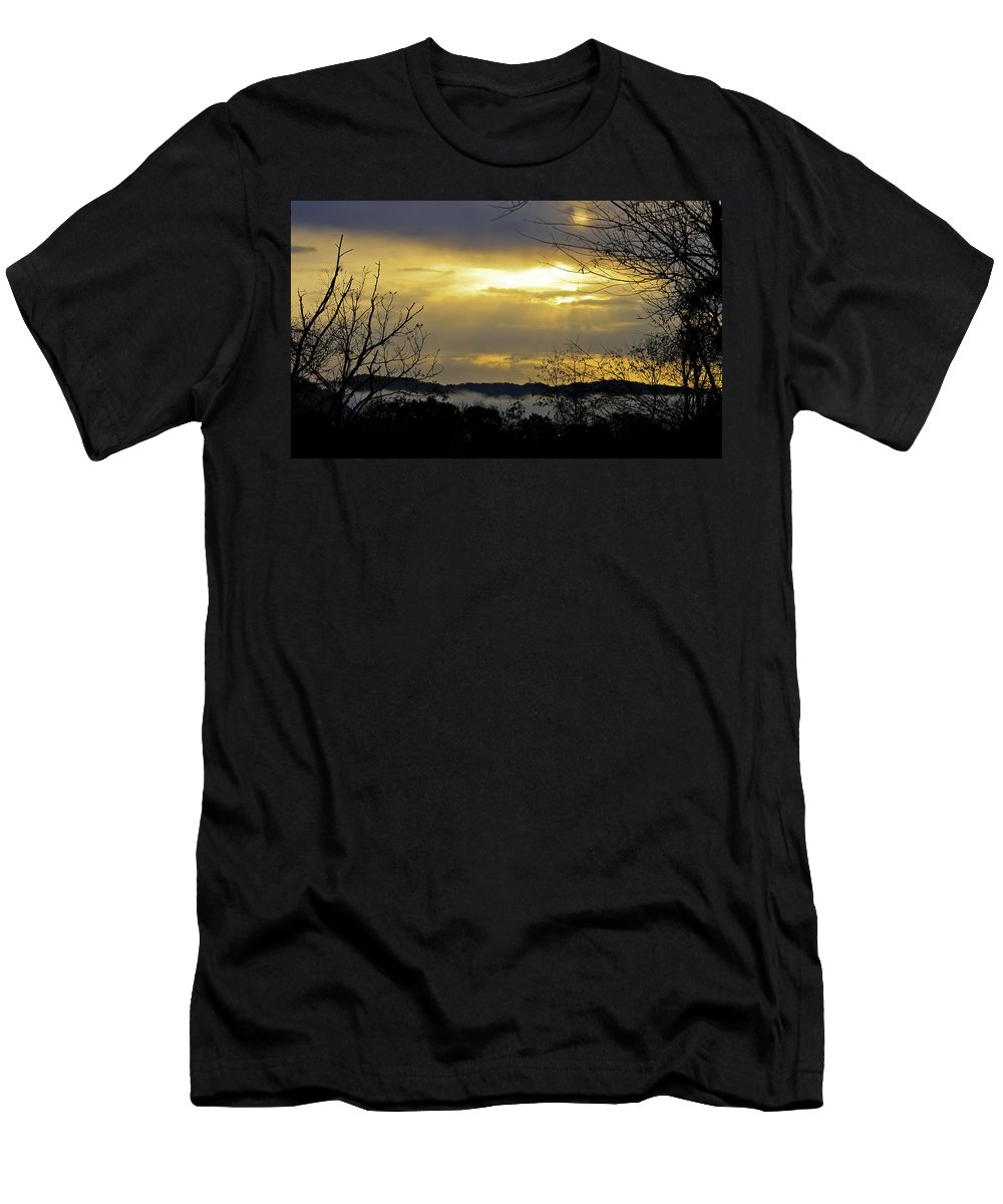 Sunrise Men's T-Shirt (Athletic Fit) featuring the photograph Cloudy Sunrise 1 by Teresa Mucha