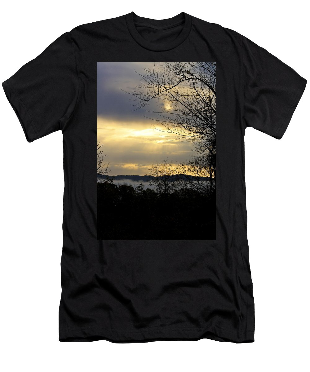 Sunrise Men's T-Shirt (Athletic Fit) featuring the photograph Cloudy Sunrise 2 by Teresa Mucha